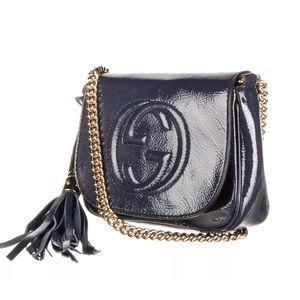 Gucci Bags - GUCCI Navy Blue Soho Chain Shoulder Bag